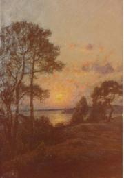 Solnedgång. Olja av Per Ekström, 1890-tal, Särö