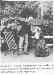 Konstnären Robert Thegerström med maka, f. Lamm, Särö 1893