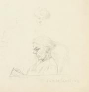 """""""Tante Axeline"""", pennteckning ur Ruth Atterboms skissblock 1909, Särö"""