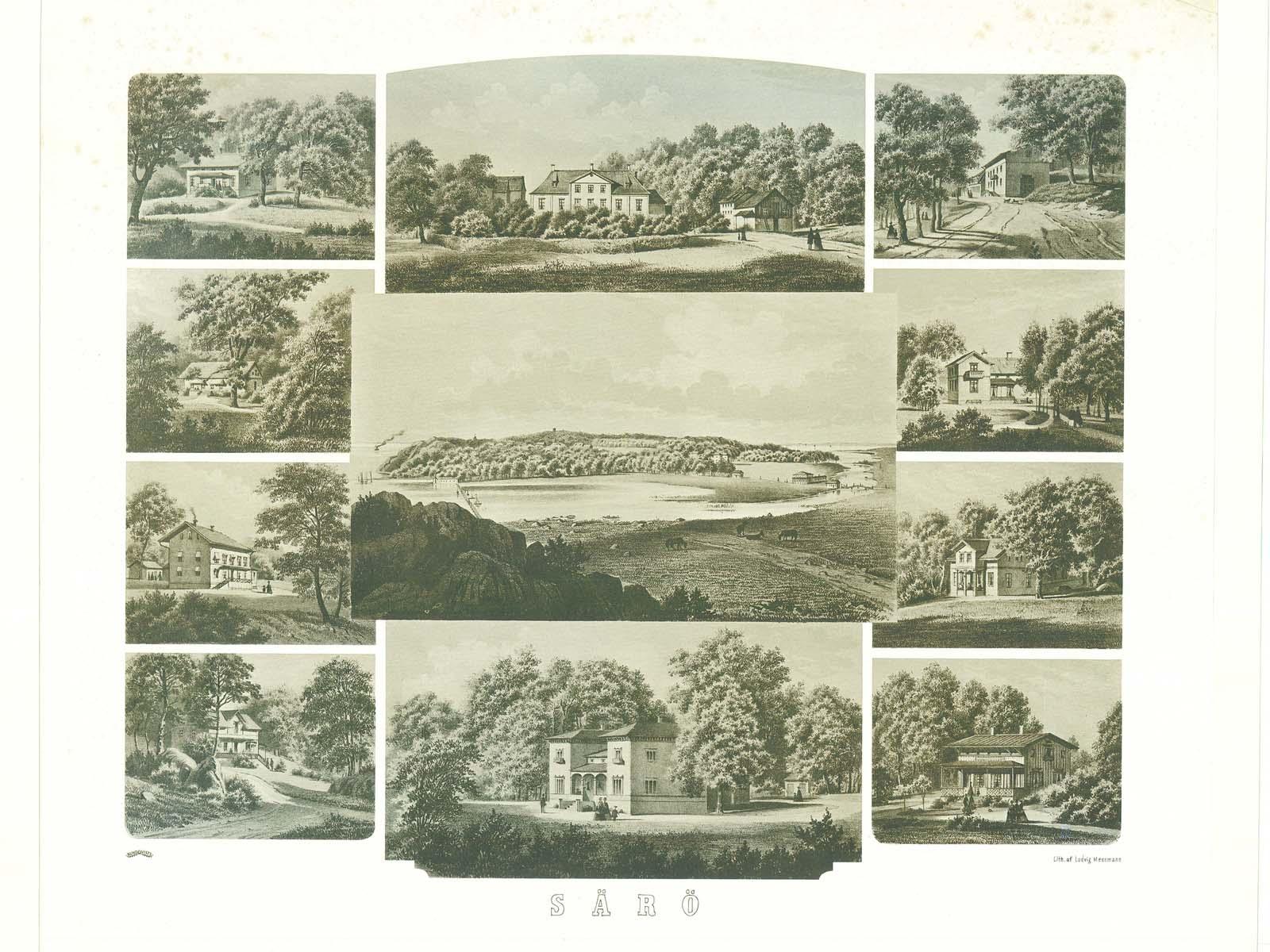 Litografi Särö av Ludvig Messman, 1863, Särö