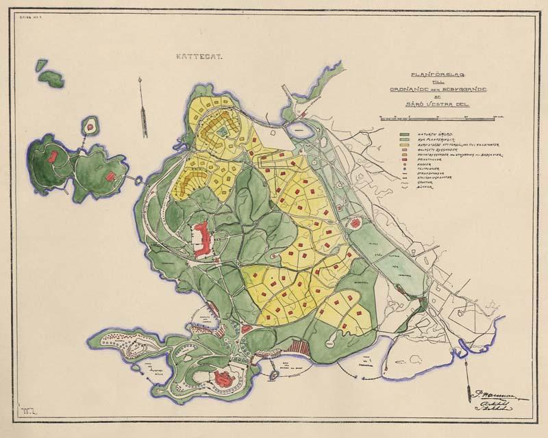 Planförslag till ordnande och bebyggande av Särös västra del. Arkitekt Per Hallman.