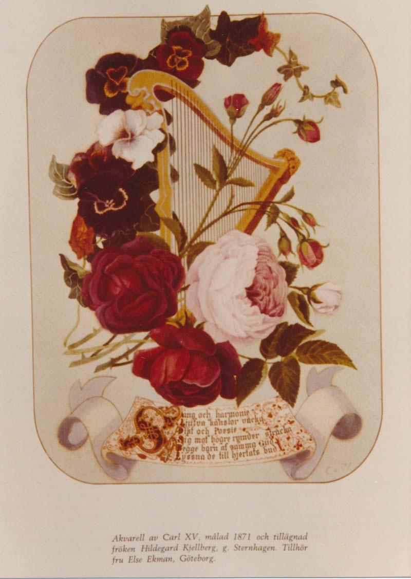 Hildegard Kjellberg tillägnades en vacker akvarell av Carl XV.