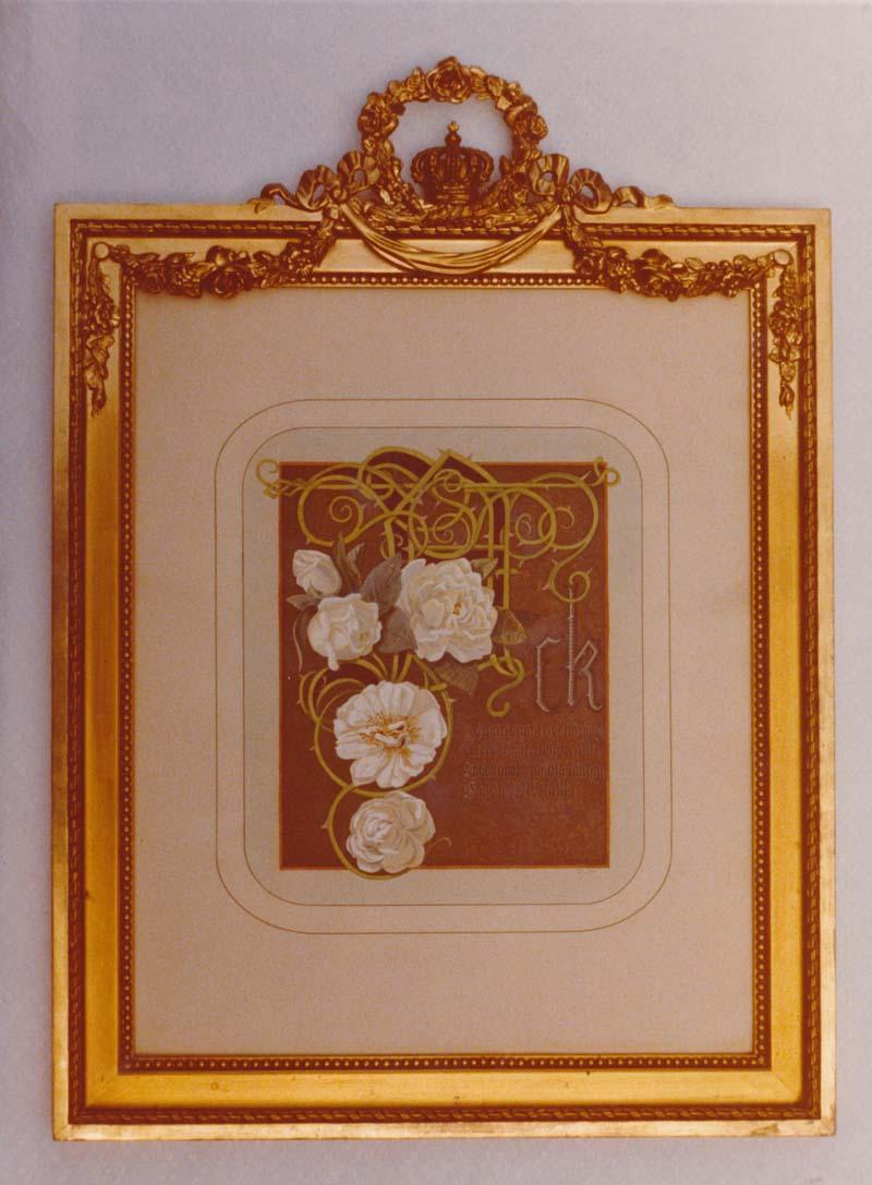 Mina Ewers tillägnades en minnestavla med dedicerad vers från Carl XV.